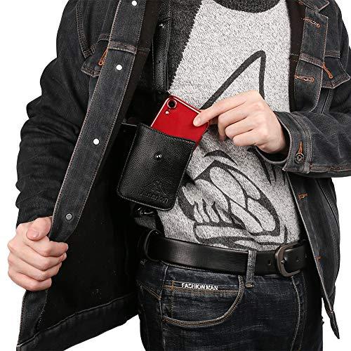 Neween Anti-Theft Hidden Underarm Strap Wallet Phone Holster Bag Leisure PU Leather Shoulder Pouch Double Shoulder Pocket Sport Vest Outdoors (Black)