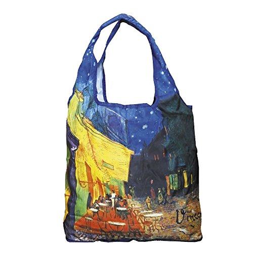 Fridolin Einkaufstasche 2 in 1 Van Gogh-Café de Nuit aus Nylon, Bunt, 16x13x4 cm