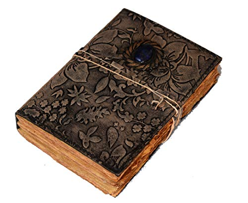 Vintage Deckle Edge Paper Leather Journal Book of Shadows Garden Flower Antique Color Notebook Blank Unlined Embossed Spell Eye Stone Celtic grimoire Journal with Strap Diary 7x5