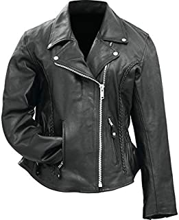 BNFUSA BKLMJSLBL Ladies Solid Genuine Buffalo Leather Motorcycle Jacket - Large