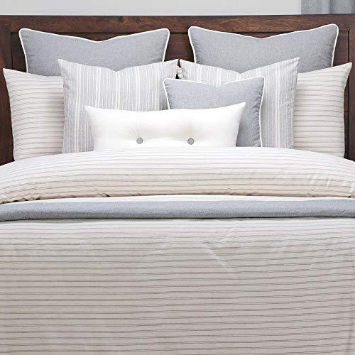 Affordable HNU 6 Piece Farmhouse Down Alt Duvet Comforter Set Cal King, Classic Stripes Modern Conte...