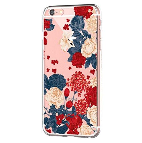 Caler® - Carcasa compatible para Apple iPhone 6 Plus/6S Plus de 5,5 pulgadas (5,5 pulgadas), transparente de silicona antigolpes, TPU de protección, funda con flores y cactus suave (diseño retro