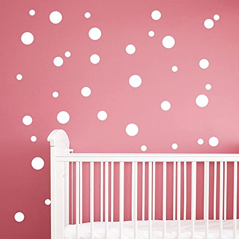 252 Pcs 1 57Inch 4cm Removable Polka Dots Wall Art Decals DIY Vinyl Circle Dot Wall Stickers For Nursery Rooms Wall Decoration Kids Girls Bedroom Living Room Bathroom Offices School Classroom White