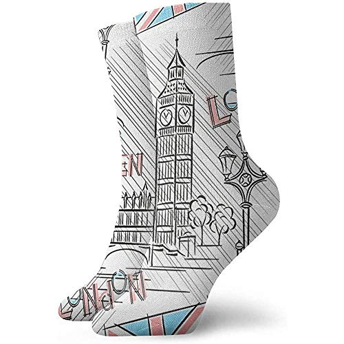 Novedad Funny Crazy Crew Sock Uk London Big Ben Printed Sport Athletic Medias 30cm Calcetín para hombres...