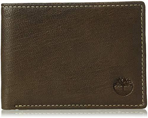 Timberland Men's Leather RFID Blocking Passcase Security Wallet, Dark Brown, One Size