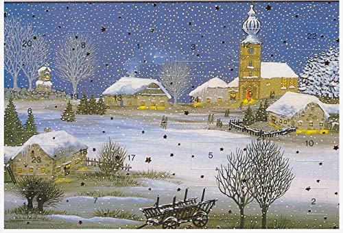 Adventskalender-Karten Set 5 Stück Nostalgie Weihnachten Grußkarten Goldprägung Kunstkarte Weinhachtskarte Weihnachtsgruß Retro Naiv