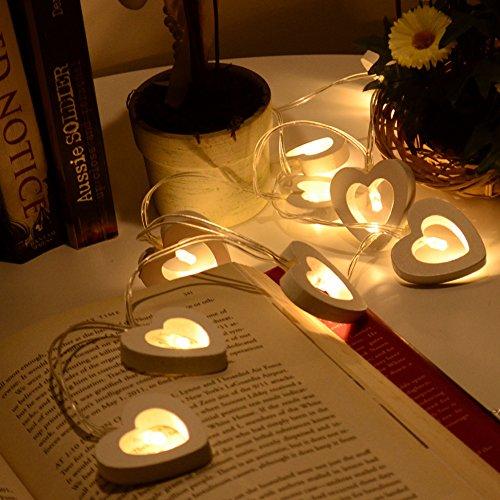 Light String, CONMING 1.2M 10 Light Light LED Batterie alimenté en bois Love Shaped chaîne de lumière romantique pour la décoration des fêtes Festival de la Saint-Valentin Fête d'anniversaire de Noël