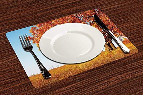 Manteles Individuales, Decoración de otoño, solitario, antiguo roble, arbustos de hierba,,Mantel Individual Antideslizante Lavable Resistente Al Calor para Hoteles Restaurante Catering (Paquete de 4)