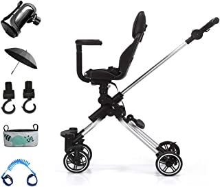LFEWOX Pushchair,Reverse or Forward Dolls Pram Travel System Stroller Foldable Buggy Detachable Three Wheelers Baby Trolley with Bottle Holder,Cover,Safety Wrist Link,Storage Bag,Hook