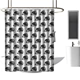 <span class='highlight'><span class='highlight'>TimBeve</span></span> Shower Curtain Liner Hedgehog,Sketchy Hedgehogs Illustration Monochrome and Artistic Wildlife Nature Inspired, Black White,Washable,Durable,Brick Dobby Pattern for Bathroom 47