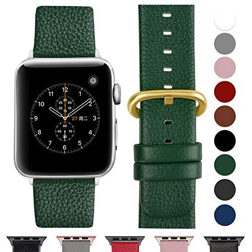 Fullmosa Cinturino per Apple Watch 42 mm/44 mm, Cinturino Pelle Compatibile con Apple Watch Serie 5 4 3 2 1, Sport, Nike+, Edition, Verde Scuro + Fibbia Dorata Lucida