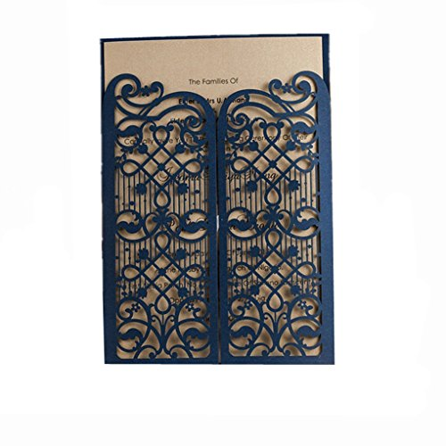 Vintage Laser Cut Wedding Invitations Cards Blue 20 Pieces Kit for Marriage Engagement Birthday Bridal Shower Open Door Design with Envelopes Seals Party Favors