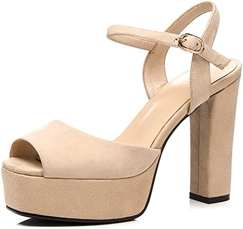 HN chaussures chaussures Femmes Talon Bloc Plate-Forme Peep Toe Strappy MesLes dames Daim Talon Haut Cheville Sandales Noces Pary Soirée Chaussures  jusqu'à 42% de réduction