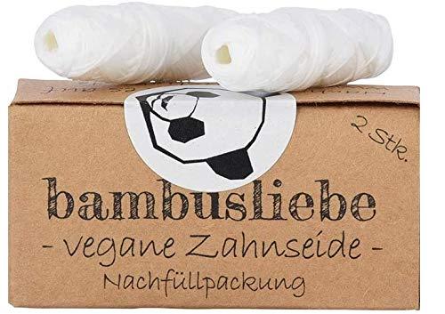 bambusliebe Vegane Zahnseide mit Maisseide - Mit Candelilla-Wachs & Edelminze - Praktische Nachfüll-Packung - Reinigt sanft & schonend, auch für empfindliches Zahnfleisch - Zero Waste - 2x 30 m
