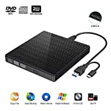 Externes CD DVD Laufwerk,USB 3.0 Typ C DVD CD RW Lesegerät mit SD-TF-Kartenleser und USB-Stick-Anschluss, tragbarer DVD-CD-RW-ROM Brenner Player für MacBook, Laptop, Win 7/8/10 / XP (schwarz)