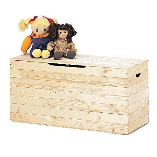 WEBMARKETPOINT Cassapanca per esterno baule contenitore legno grezzo in doghe 100x40x50 cm