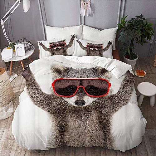 Juego de funda nórdica de 3 piezas de fácil cuidado y 2 fundas de almohada, divertido mapache con gafas de sol que muestra un signo de paz, elegante funda de edredón de microfibra de calidad de lujo