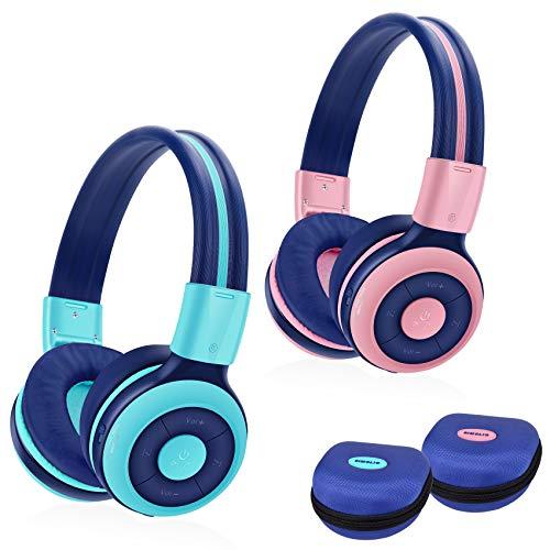 SIMOLIO Auriculares inalámbricos Bluetooth para niños con micrófono, Protección auditiva Auriculares para niños, Volumen Limitado, Puerto compartido, Sonido Estéreo, 15 Horas Reproducción, AUX Cable