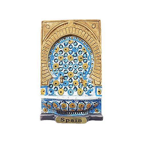 Wedare Parma Spain 3D Mosaik-Brunnen Kühlschrankmagnet Tourist Souvenirs Harz Magnet Magnet Kühlschrankmagnet Home & Kitchen Dekoration aus China