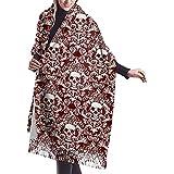 Elaine-Shop Calavera y flor Bufanda de otoño e invierno para mujer Bufanda clásica con borlas Bufanda cálida suave y grande