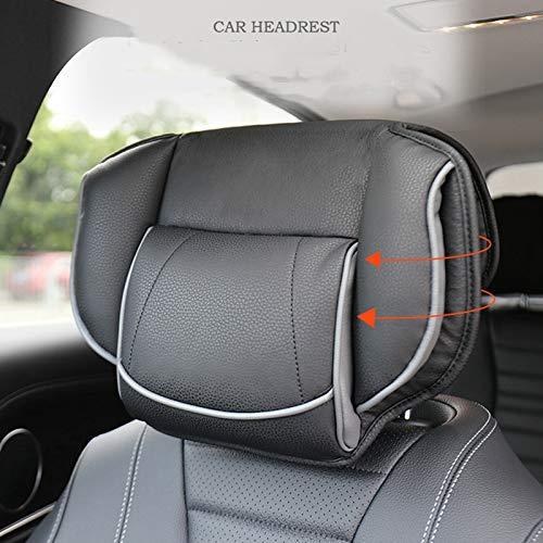 miaoyu Cojín universal para reposacabezas de coche, almohada de cuero para reposacabezas de asiento ajustable, cabeza de asiento de espuma viscoelástica, almohada de cuero (color negro)