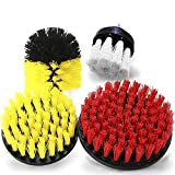 Vila Drill Brush Set, Red and Yellow, Durable Synthetic Fiber, Attaches to Any Drill, Effectively Removes Stains, Great for Tubs, Shower Pans, Floor Tiles, Glass Stove Tops, 4-Pack