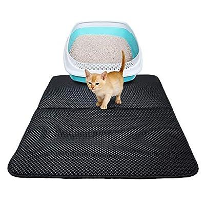 Cat Litter Mat, Cat Litter Box Mat Scatter Control,Waterproof Double Layer Honeycomb Design,Easy Clean Washable EVA Material (L, Black)
