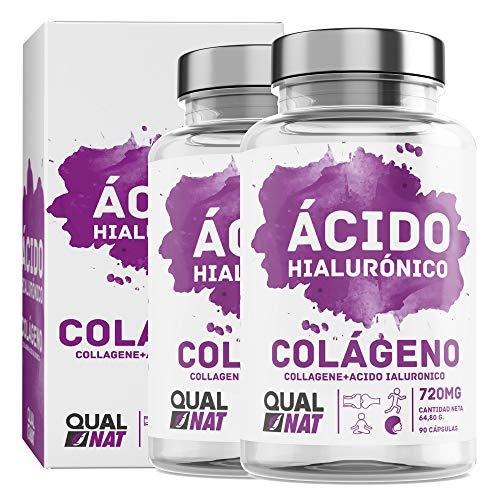 Collagene con acido ialuronico per una pelle sana - Collagene con vitamina C e zinco per contribuire a migliorare l'elasticità e la salute delle ossa e delle articolazioni - (PACK2-180 Cápsulas)