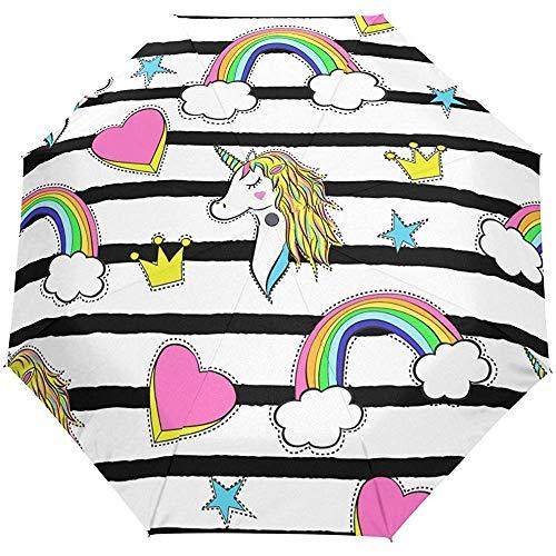 Cute Rainbow Striped Auto Open Close Sun Rain Paraguas