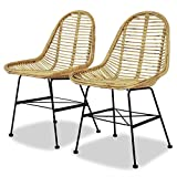vidaXL 2x Dining Chair Natural Rattan Wicker Colonial Rustic Kitchen Home Seat