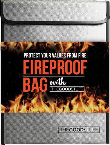 Fireproof Document Bag (2000℉), Protect Important Documents, Fireproof Bags (Extra Strength), Waterproof and Fireproof Document Bag, Fire Safe Bags, Keep Your Documents Safe (Legal) by The Good Stuff