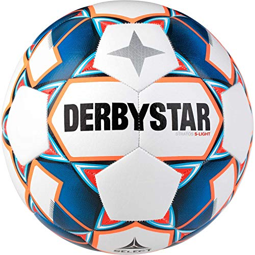 Derbystar Kinder Stratos S-Light, 1038500167 Fußball, Weiss blau orange, 5