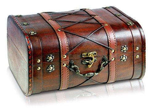 Brynnberg Schatztruhe groß 32x26x20cm Holztruhe Schatzkiste Vintage-Look Piraten braun Kolonialstil Piratentruhe
