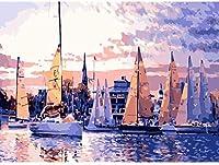 NumbersDIYによる壁画アートペイント大人のためのNumbersキットによる油絵ペイント– Number Kitによる美しい風景ペイント40x50cm(水側)