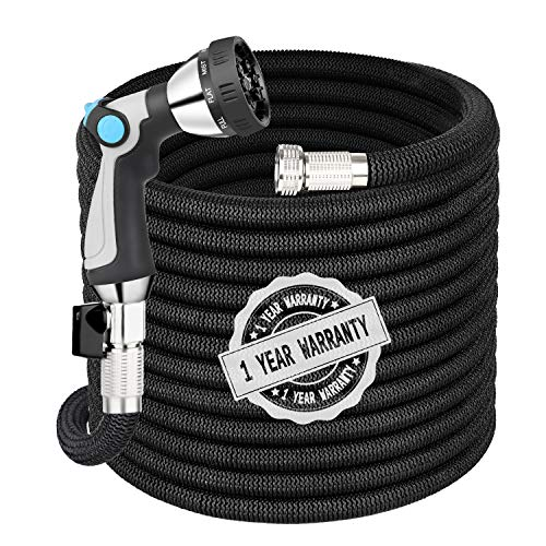 Garden Hose Expandable Hose 100FT, Flexible Water Hose with Spray Nozzle, Car Wash Hose with Solid Brass Connector, Kink Free Expanding Garden Hose for Watering and Washing