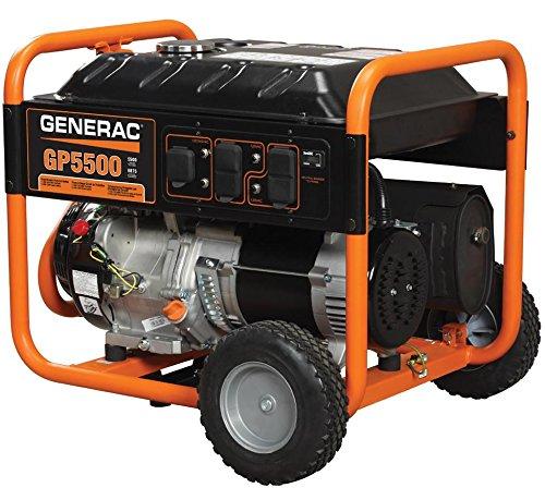 Generac 5939 Generator, Portable, 5500 Watt, Manual Recoil Start, Gasoline