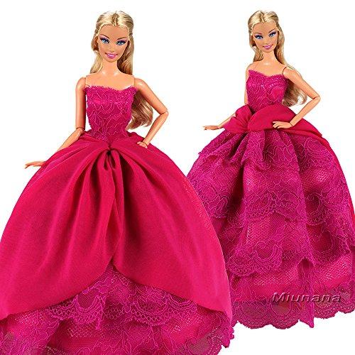 Miunana Hochzeitskleid Langer Spitze Zug Ballkleid Abendkleid Kleidung Kleider für 11,5 Zoll Mädchen Puppe