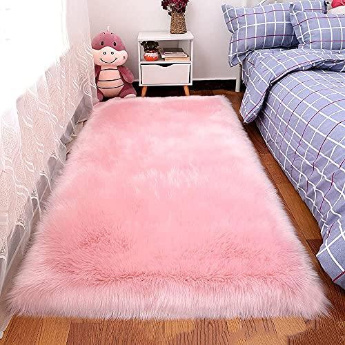 GYYSDY Alfombras Rosa de imitación de Lana de Felpa Cojín de sofá Sala de Estar Mesa de Centro Alfombra de Estilo Europeo Dormitorio Manta de Noche Decoraciones navideñas