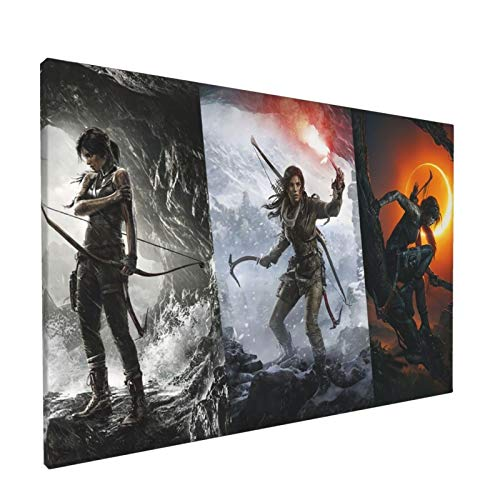 Shadow Of The Tomb Raider Canvas Wall Art Tasteless 3d Painting Decoration Easy To Hang For Bedroom Reading Room、Living Room 18x12 Inch