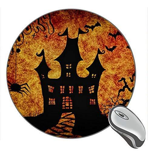 Halloween Castle Spider Fledermaus Bäume Silhouette Print Runde Desktop-Mauspad Gaming Rubber Mouse Pad