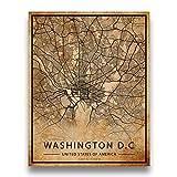Washington DC Map Vintage Style Poster Print | 11x14 UNFRAMED Cityscape Artwork | Antique Style Home Decor | United States Wall Art | Vintage Metro Street Grid Art
