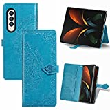 FTRONGRT Funda para Samsung Galaxy Z Fold 3 5G,PU Cuero Flip Folio Carcasa [Cierre Magnético] [Stand Función] [Ranura de Tarjeta] Case para Samsung Galaxy Z Fold 3 5G -Azul