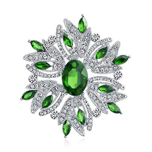 Bling Jewelry Declaración Grande Vintage Estilo Flor de Cristal simulado Esmeralda Verde Cristal Broche Pin para Las Mujeres para la Madre Plateado