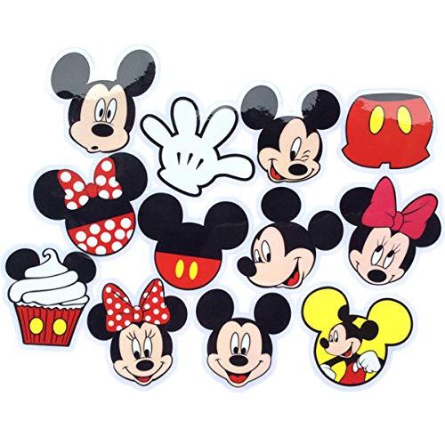 60 pegatinas de PVC de Mickey Mouse, suministros de fiesta de cumpleaños para niños, decoración de fiesta de cumpleaños