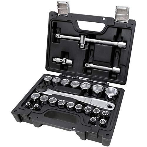 Beta 923E/C25 - Cassetta chiavi a bussola, set di 20 chiavi a bussola esagonali e 5 accessori, in cassetta di plastica. Kit chiavi a bussola in valigetta plastica antiurto con chiusure in metallo.