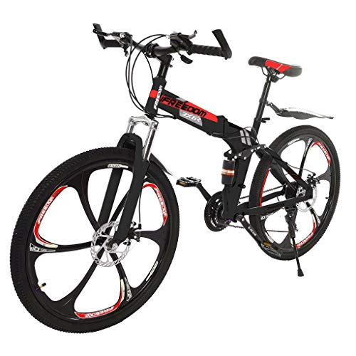POROPL 26in Folding Mountain Bike 21-Speed Stone Mountain Bicycle Full Suspension MTB Bikes (red)