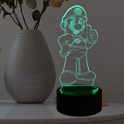 Mario Cartoon Game Figure Night Light for Kids Room 3D Optical Illusion 7 Color with USB Remote Change Bedside Mood LED Table Lamp Holiday Party Bros Luigi Mario Gift for Teenage (Stand Mario)
