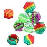 PIAOPIAONIU 8 Pcs Hexagon Non-Stick 26ml Wax Silicone Container Jars Oil Wax Kitchen Storage Rubber Container Color Random