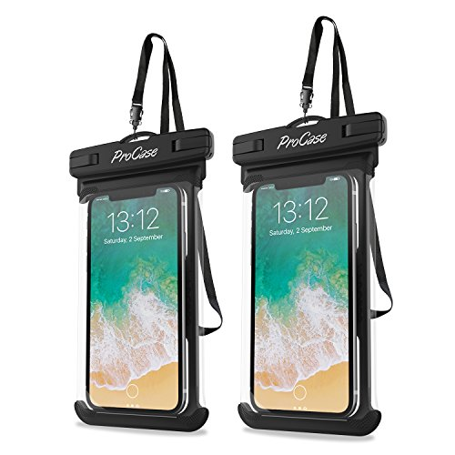 Procase Universal Waterproof Case Cellphone Dry Bag Pouch for iPhone 11 Pro Max Xs Max XR XS X 8 7 6S Plus SE 2020 Galaxy S20 Ultra S10 S9 S8 /Note 10 9 Pixel 4 XL up to 69quot  2 Pack Black