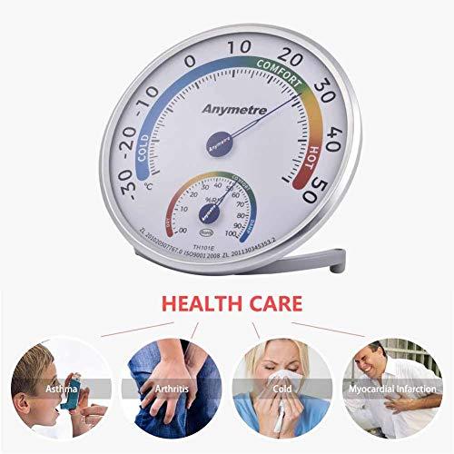 Jinclonder Indoor Outdoor Hygrometer thermometer, ultra groot LCD-display, vocht-temperatuurmonitor voor thuis, kantoor, broeikas, woonkamer en buiten